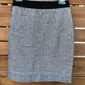 J Crew Gray Striated Linen Blend Pencil Skirt